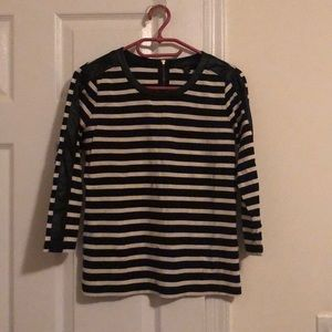 J.CREW BLACK WHITE STRIPE FAUX LEATHER ZIP XXXS